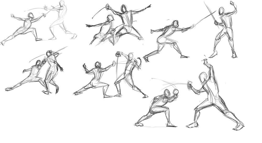 Sword Fighter Drawing Some Shword Fighting Gestures